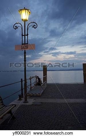 Stock Photography of Italy, Veneto, Lazise, harbour, mooring area.