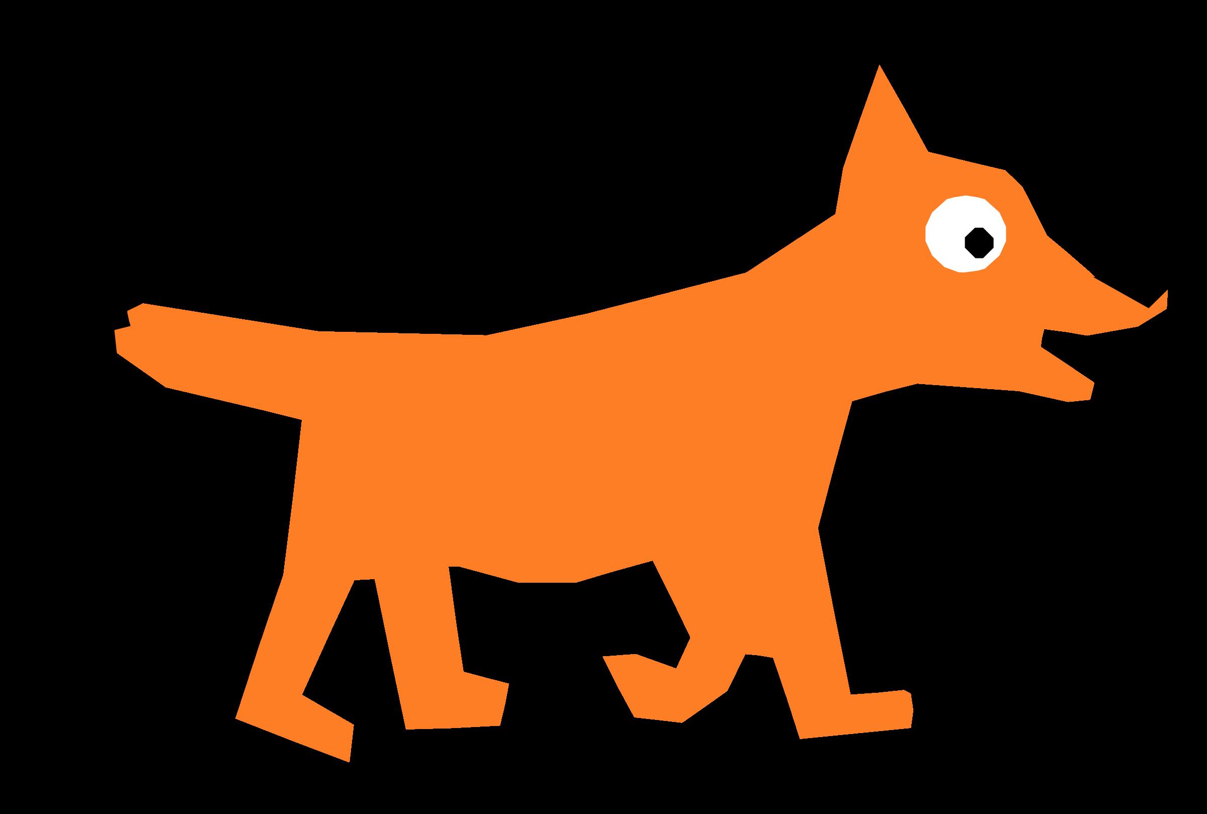 Orange Cartoon Fox vector clipart.