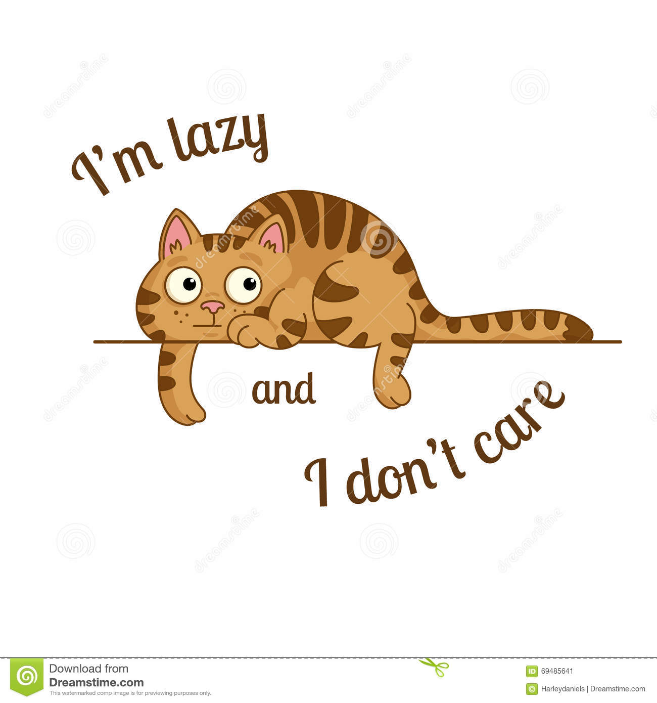 The Lazy Cat Stock Vector.
