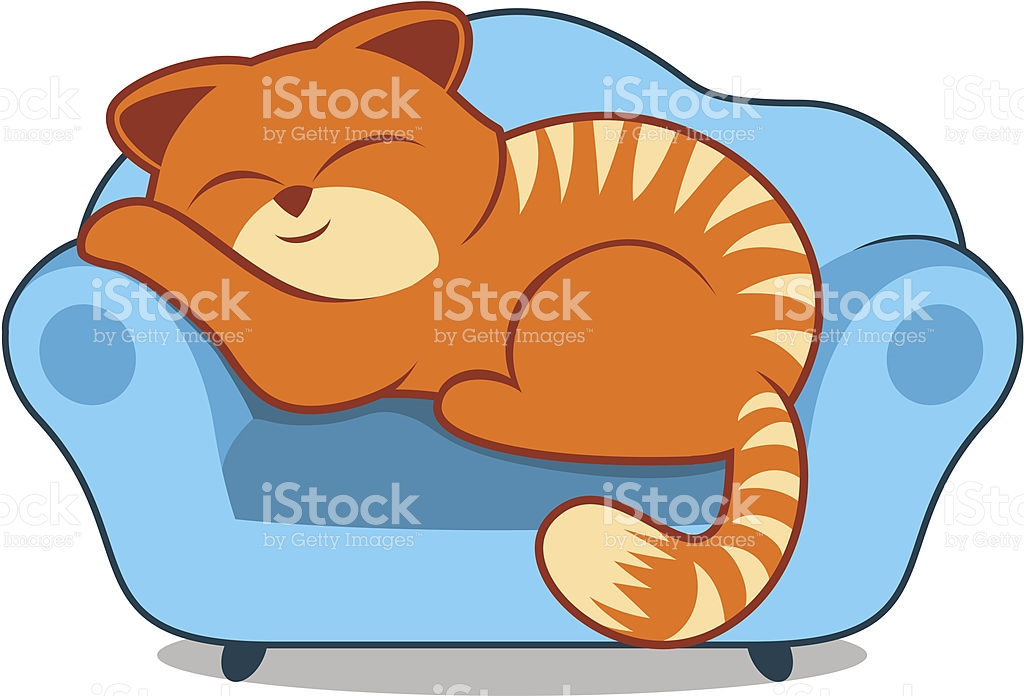 Orange Striped Lazy Cat Sleeping On Sofa Blue Armchair stock.