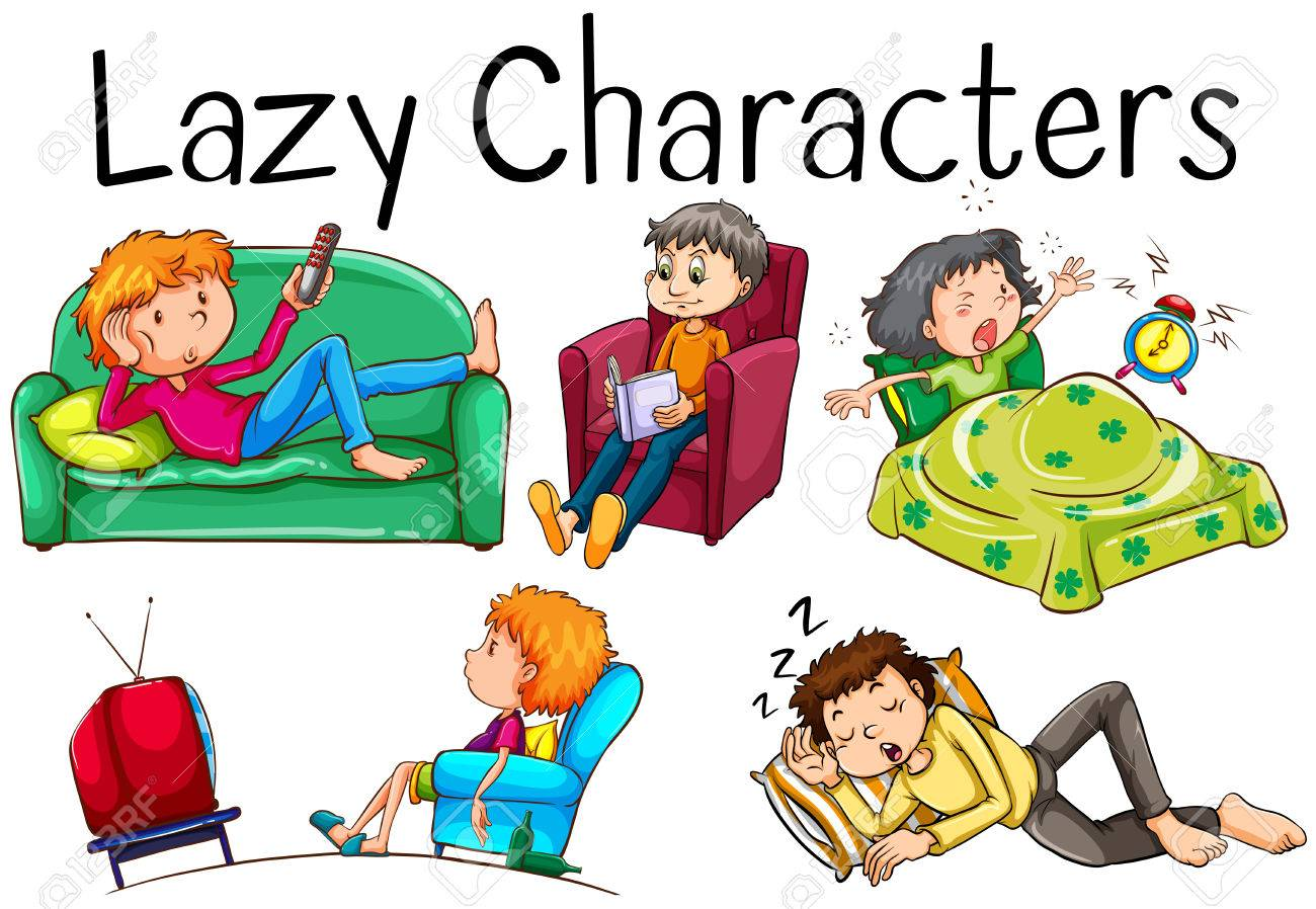Lazy people doing boring activities illustration.