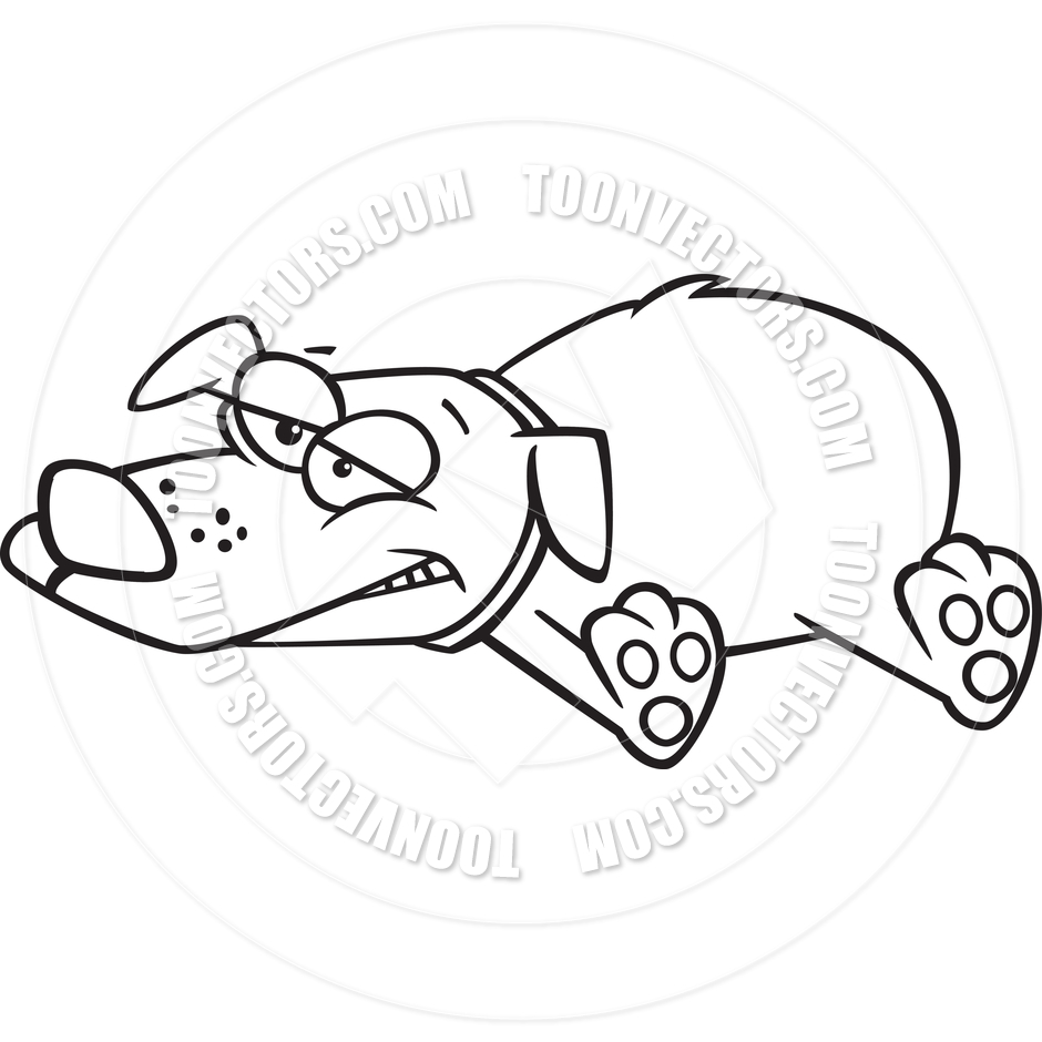 Cartoon Lazy Dog Lying Down (Black & White Line Art) by Ron.