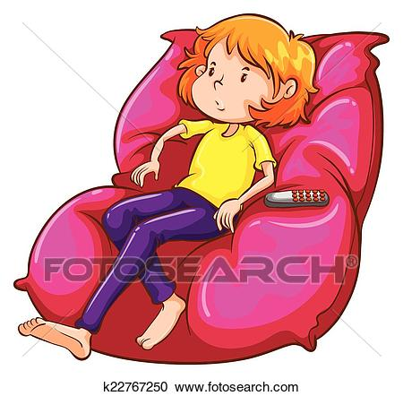 A sketch of a lazy girl at the couch Clipart.
