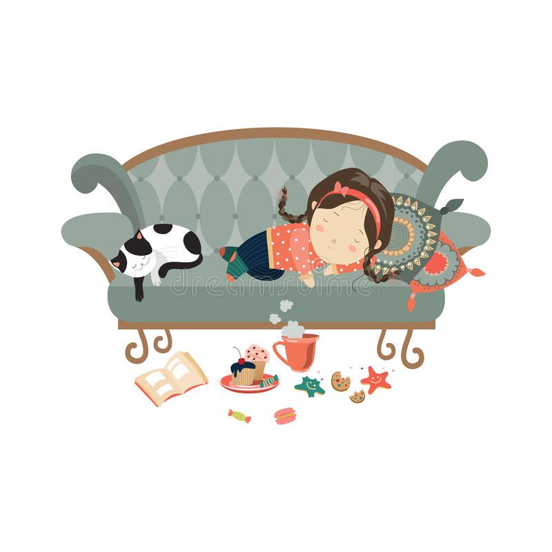 Lazy Girl Stock Illustrations.