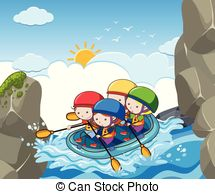People floating in a lazy river pool. A vector illustration.