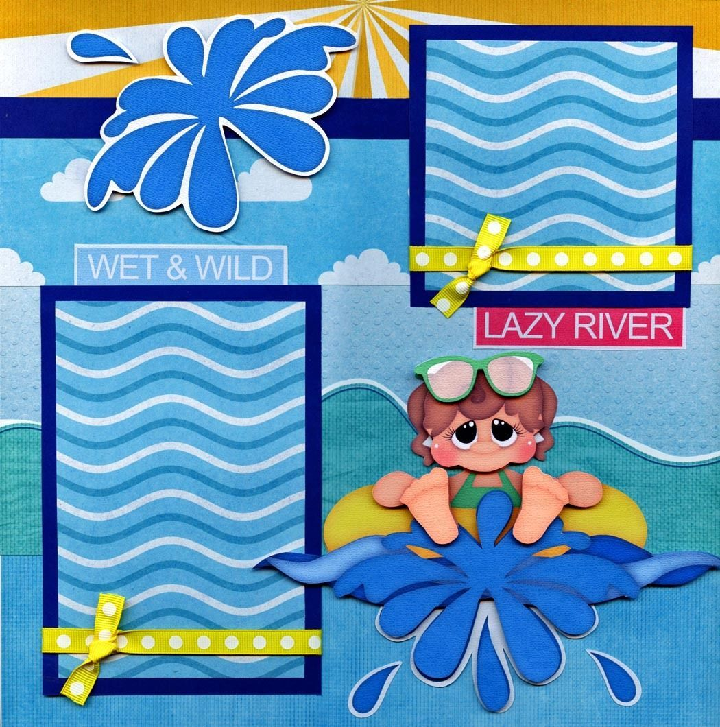 LAZY RIVER water park 2 premade scrapbook pages paper.