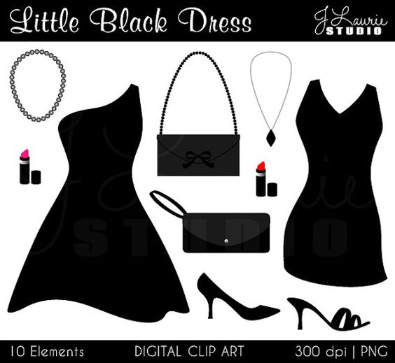 Little Black Dress Digital Clipart.