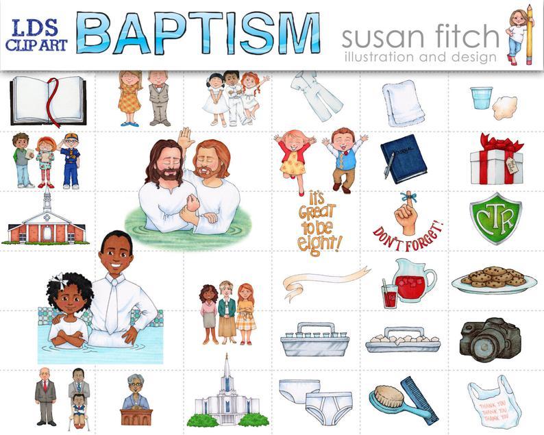 LDS Baptism Clip Art Set.