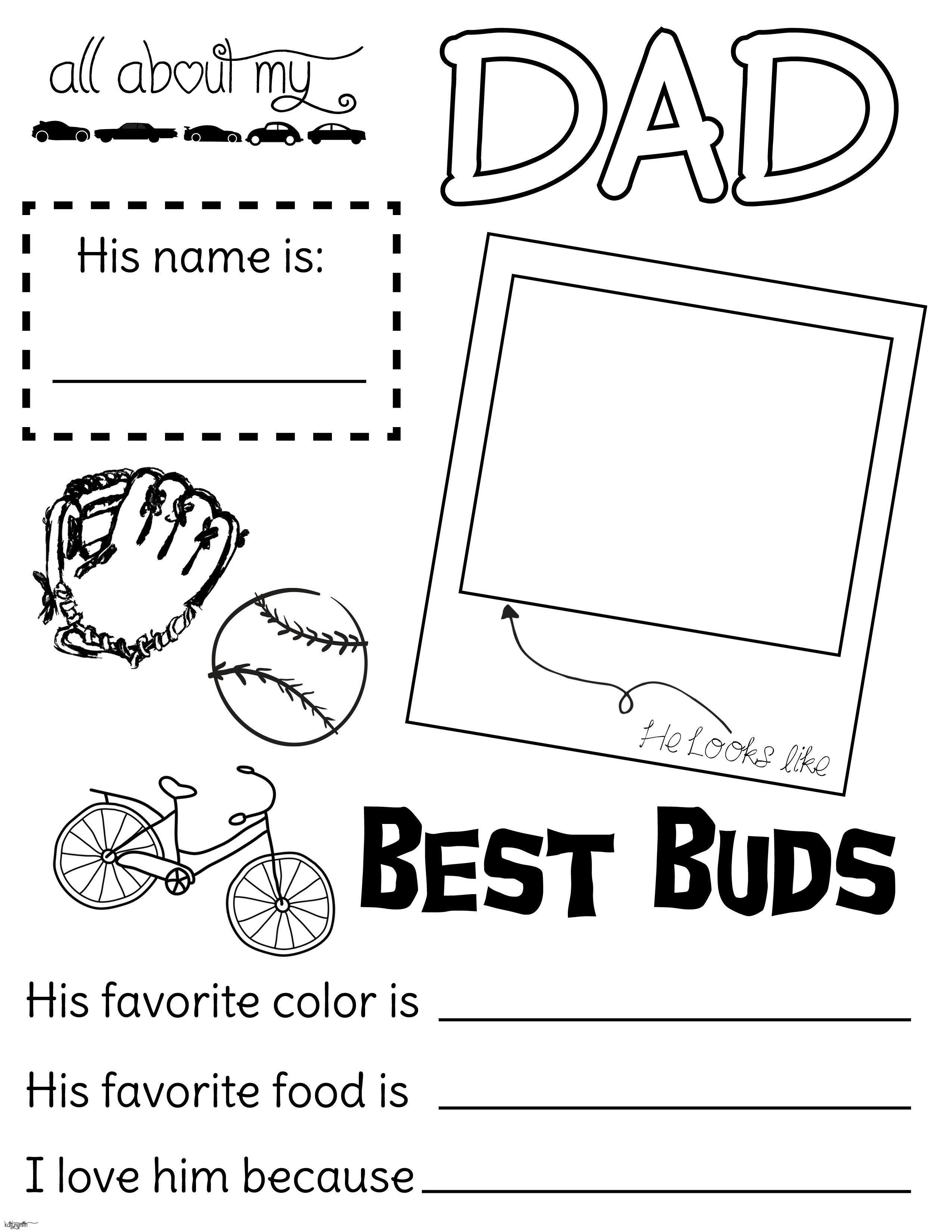 All about my dad. Fathers Day handout. fillout, coloring.