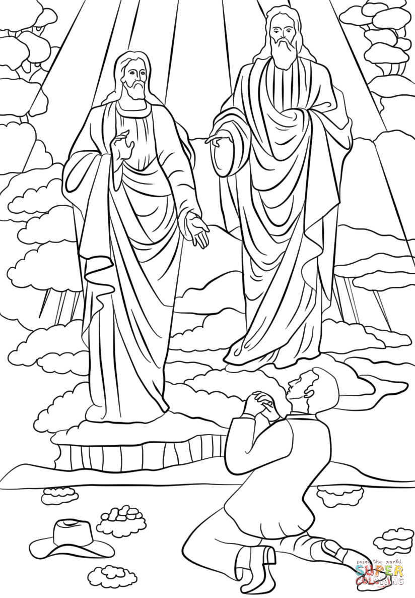 Joseph Smith First Vision coloring page.