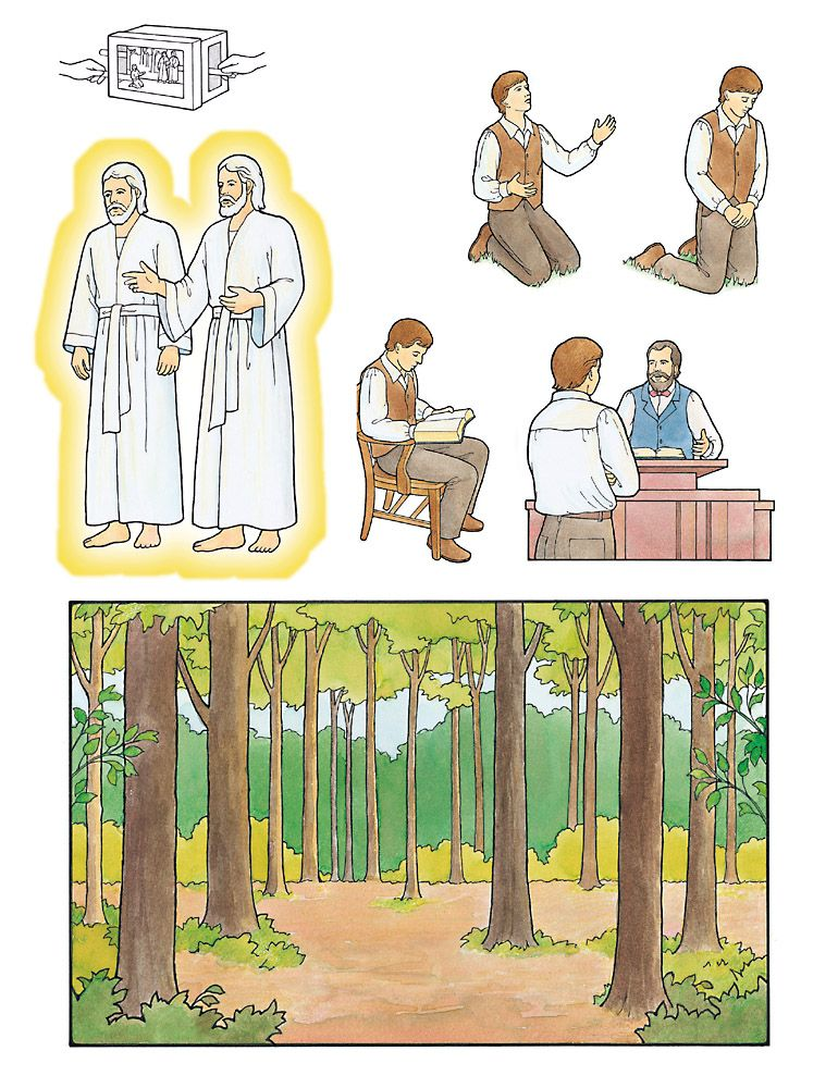 Joseph Smith First vision felt board pictures. Have boys.