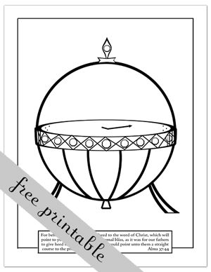 Liahona Coloring Page via A YEAR OF FHE..