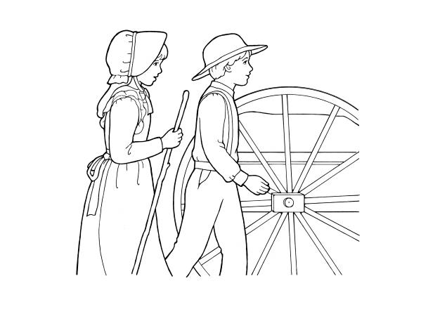 Pioneers Pulling a Handcart.