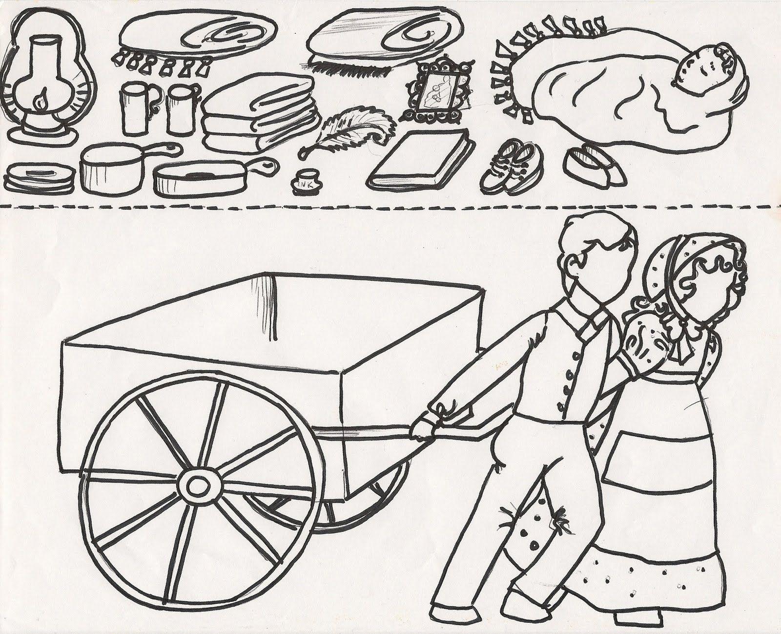 pioneer handcart clipart.