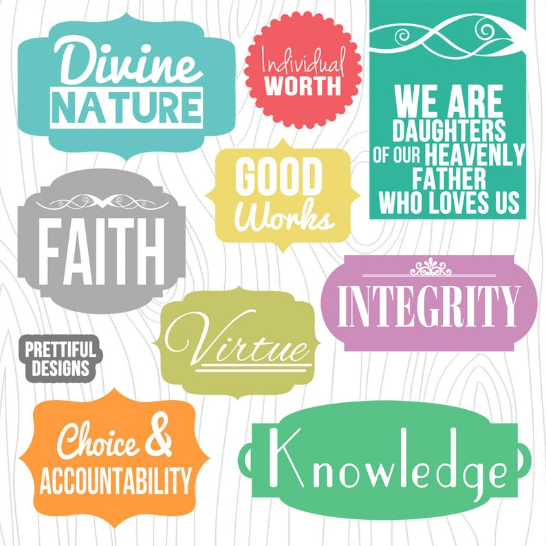 LDS Young Women Values Digital Clip Art and Word Art.