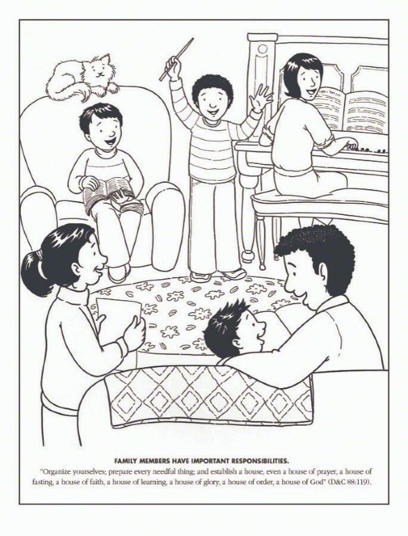 Primary Coloring Page. Family sings together, family home.