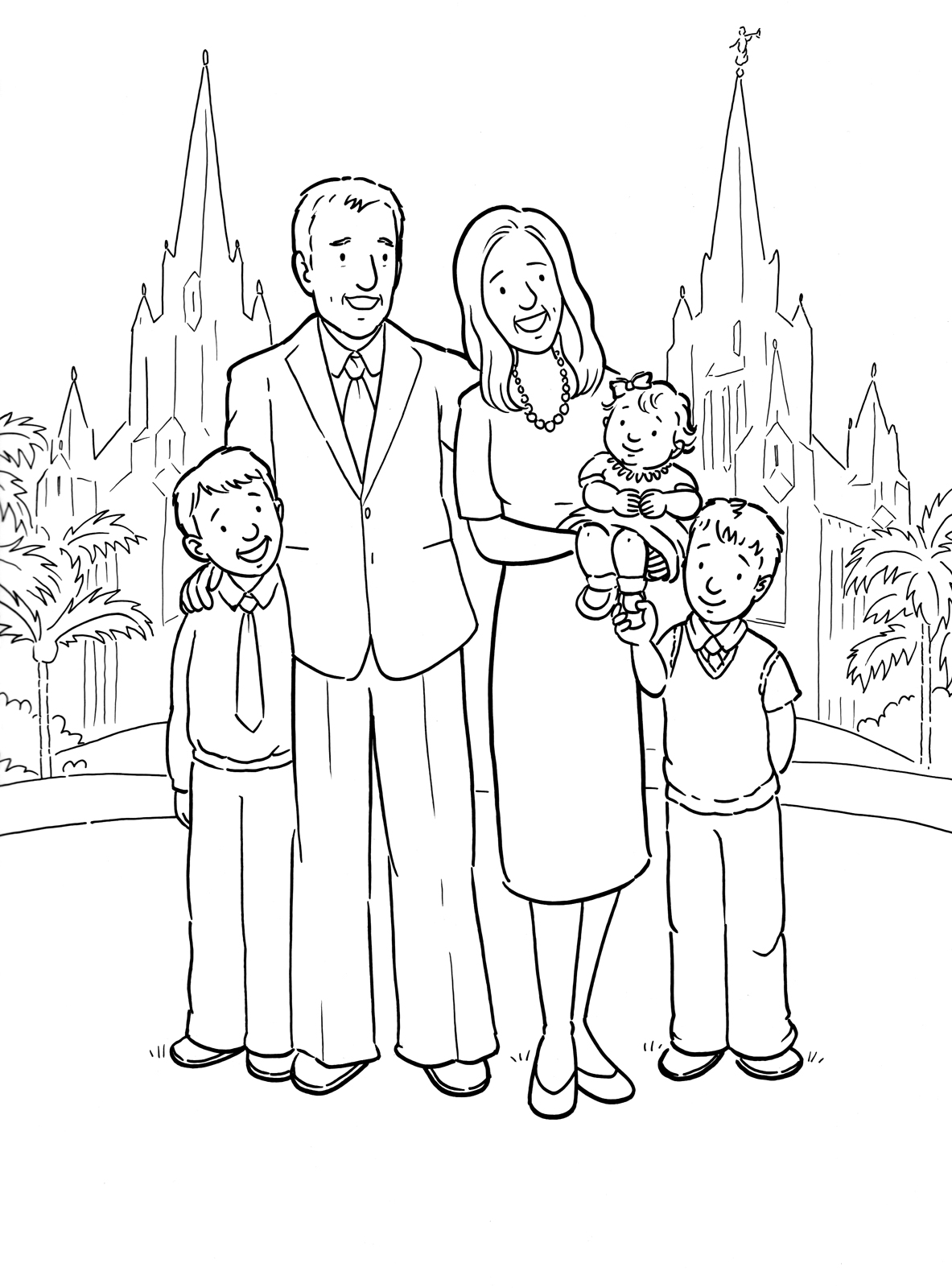 A happy family at the San Diego Temple. A Primary coloring page.