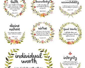 Items similar to LDS Young Women Value Girls & Symbols ~ Clip Art.