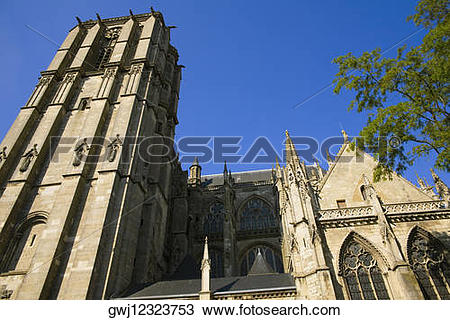 Stock Photo of Low angle view of a cathedral, Le Mans Cathedral.