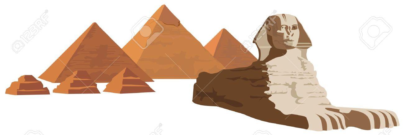 Illustrazione Sfondo Con La Sfinge E Le Piramidi Clipart Royalty.