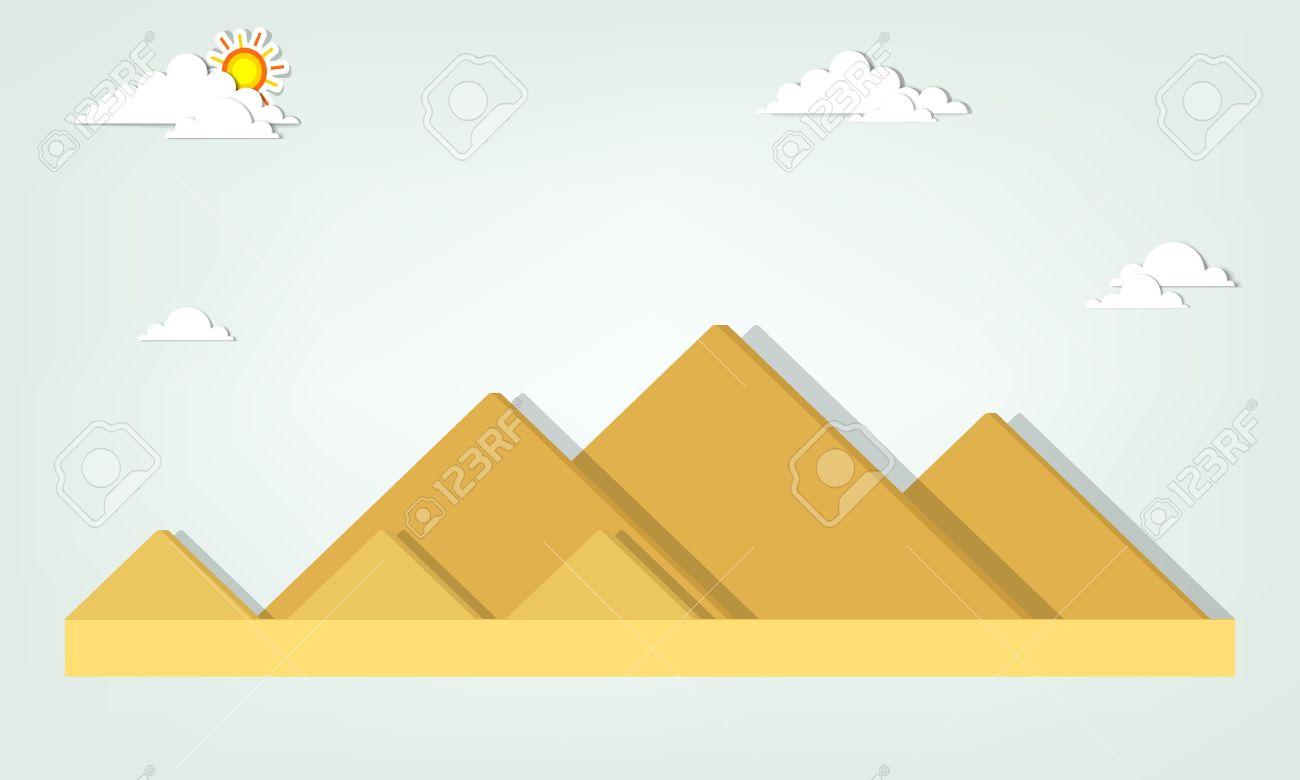 Paesaggio Con Le Piramidi Egizie Clipart Royalty.