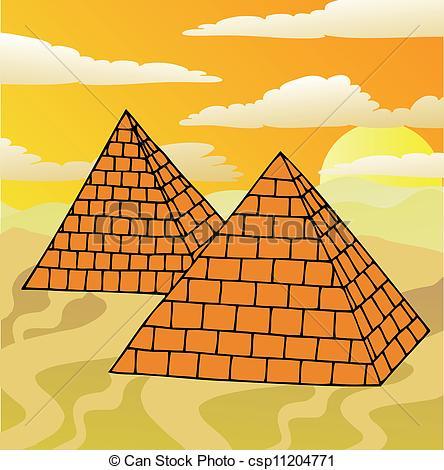 Illustrazioni vettoriali di scenario, piramidi.