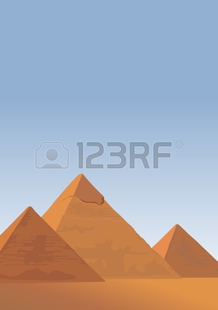 Illustrazione Sfondo Con Le Piramidi Di Giza Clipart Royalty.
