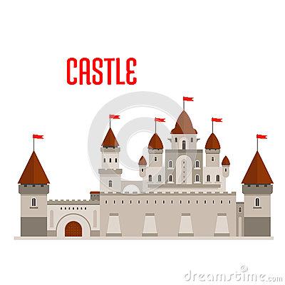 Vector Le Pareti E Le Torri Di Un Castello Medievale Immagine.