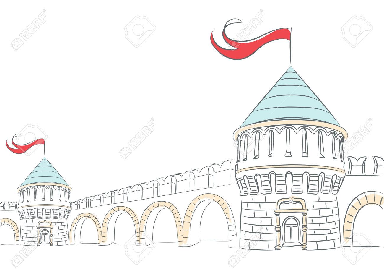 Mura Di Vettore E Le Torri Di Un Castello Medievale Clipart.