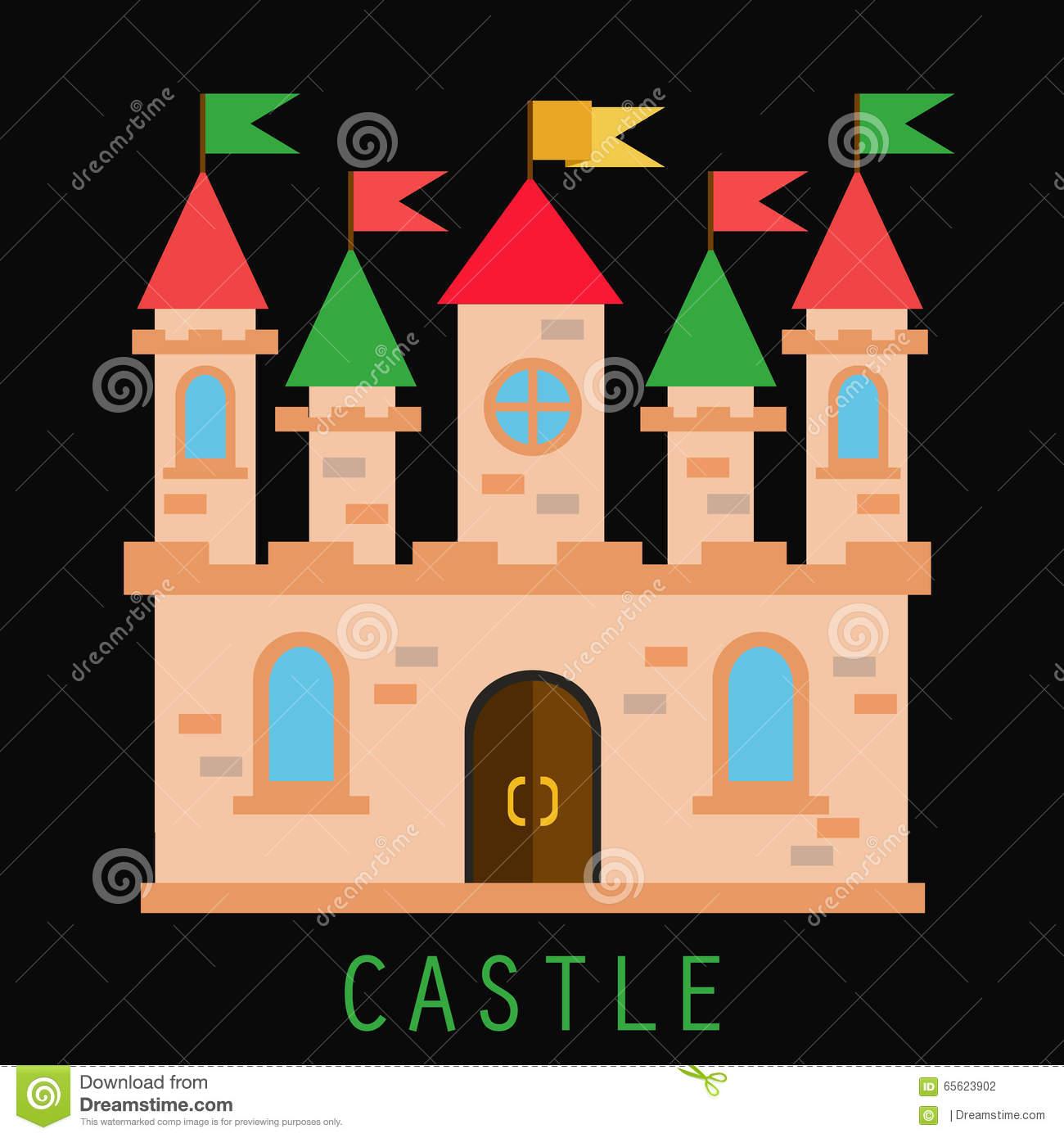 Vecchio Castello Con Le Bandiere E Le Torri Illustrazione.
