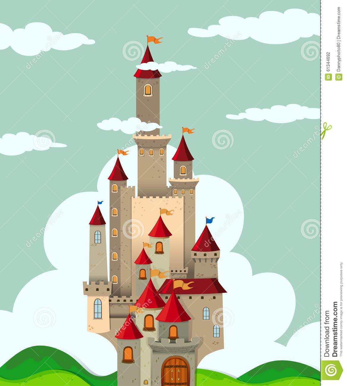 Castello Con Le Torri Alte Illustrazione di Stock.