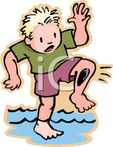 Colorful Cartoon of a Blonde Haired Boy Standing In a Stream with.