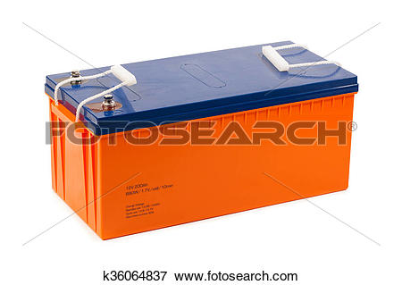 Picture of industrial lead acid battery, isolated on white.