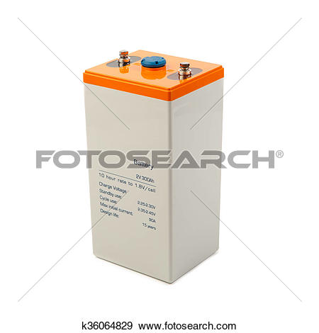 Stock Photograph of industrial lead acid battery, isolated on.