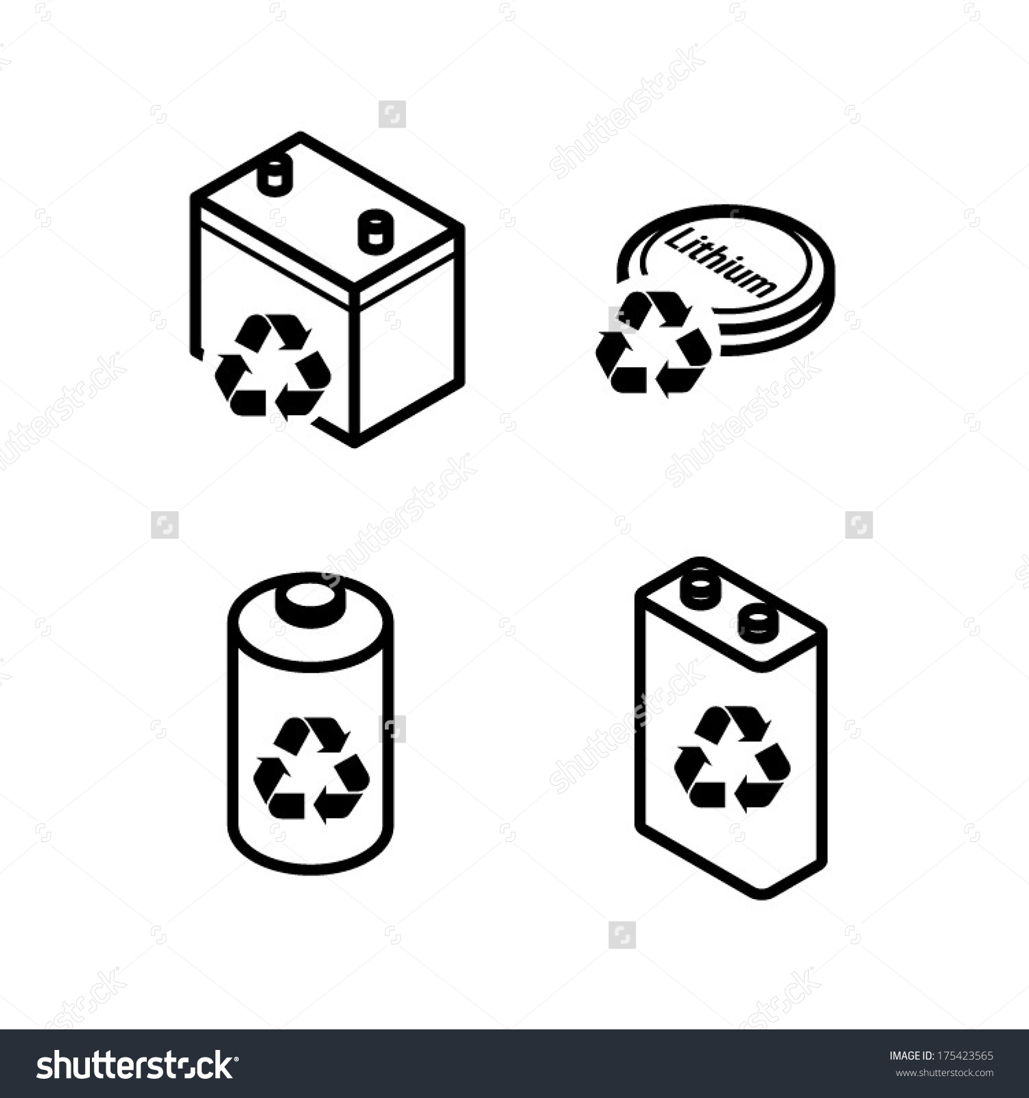 Recycling Icons Dry Cell Battery Lead Stock Vector 175423565.