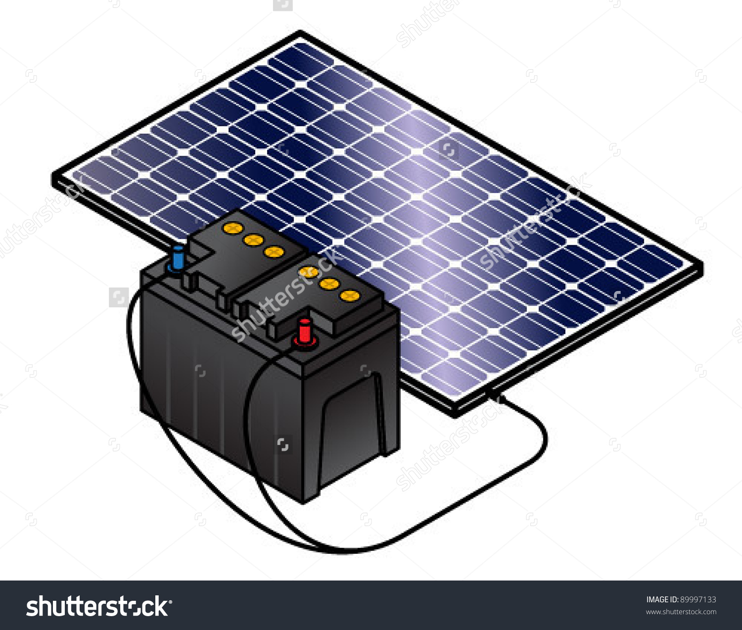 Solar Panel Charging Lead Acid Battery Stock Vector 89997133.