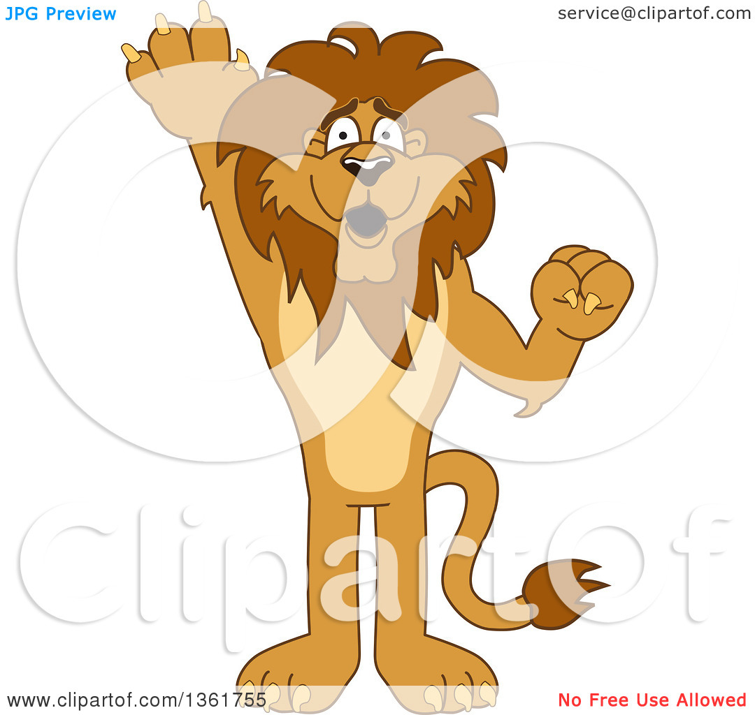 Clipart of a Lion School Mascot Character Raising a Hand to.