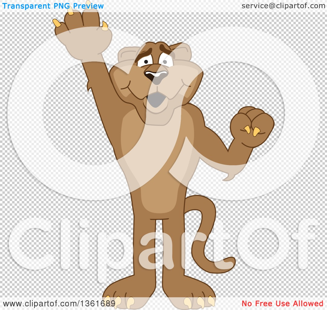 Clipart of a Cougar School Mascot Character Raising a Hand to.
