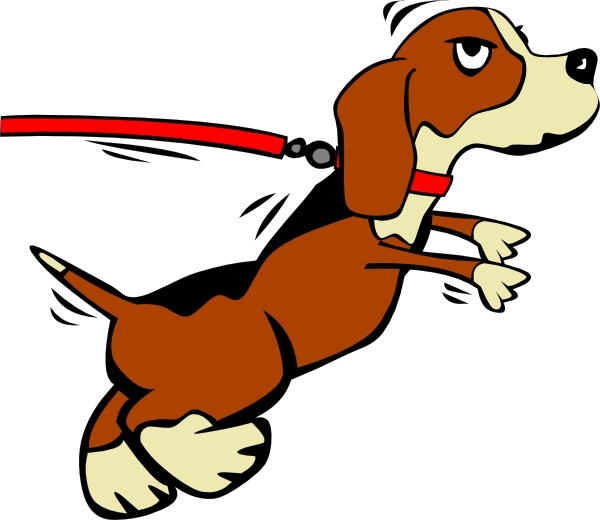 Dog on lead clipart.