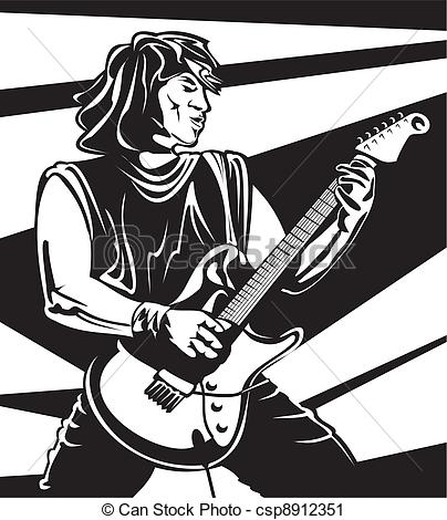 Vector Clip Art of lead guitarist.