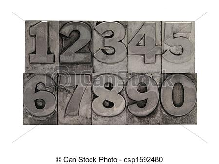 Stock Photography of metal type numbers.