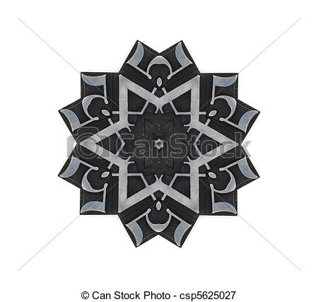 Stock Illustrations of star design of metal type elements.