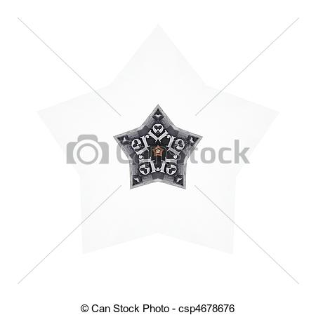 Stock Illustration of star made of metal type.