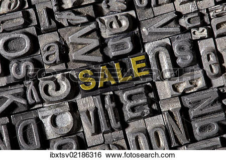 """Stock Images of """"The word """"""""""""""""sale"""""""""""""""", made of old lead type."""