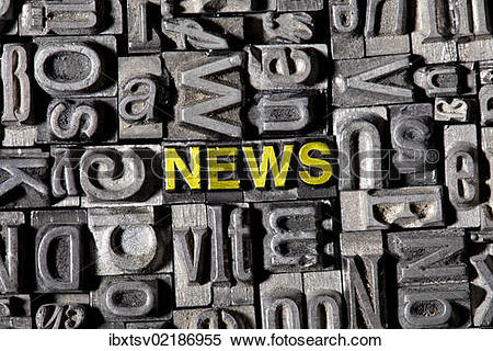 """Stock Image of """"The word """"""""""""""""news"""""""""""""""", made of old lead type."""