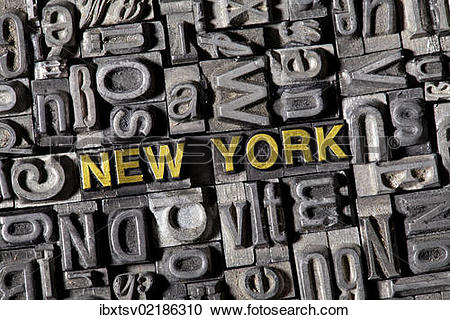 """Stock Photography of """"The word """"""""""""""""New York"""""""""""""""", made of old lead."""