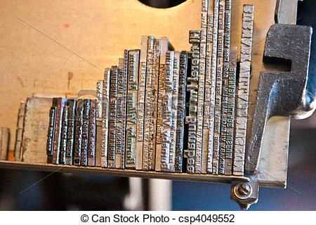 Stock Photo of Rows of hot lead type.