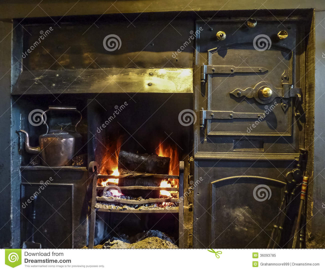 Black Lead Fireplace Royalty Free Stock Photo.