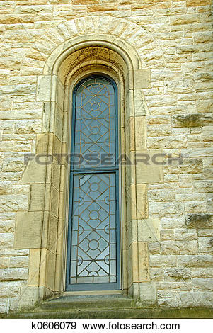 Stock Photograph of Church Antique Leaded Window k0606079.