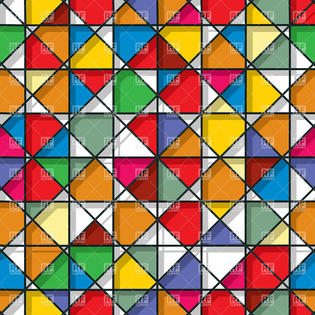 Decorative stained glass seamless pattern.
